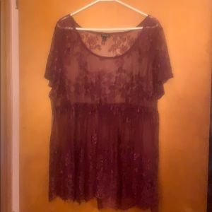 Burgundy/ purplish lace tee